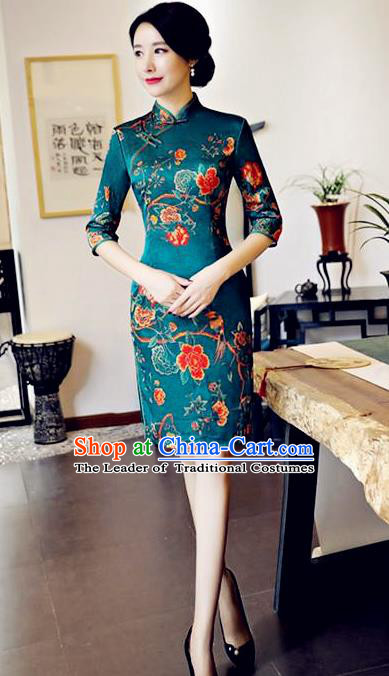 Chinese National Costume Handmade Tang Suit Green Qipao Dress Traditional Printing Flowers Cheongsam for Women