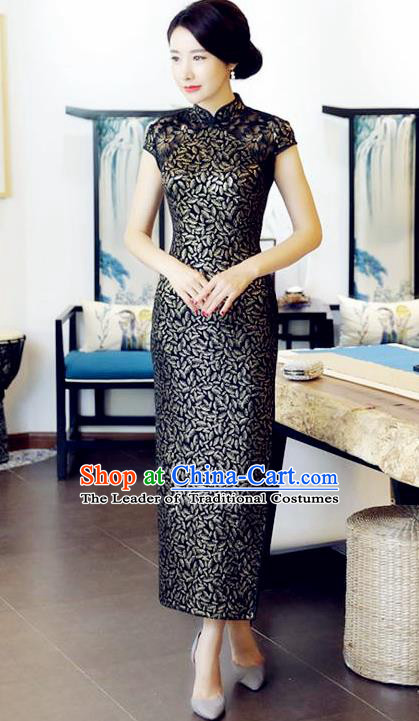 Chinese National Costume Handmade Tang Suit Black Qipao Dress Traditional Long Cheongsam for Women