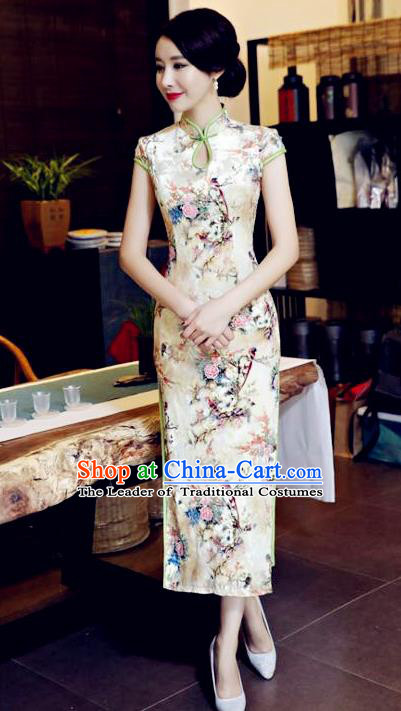 Chinese National Costume Handmade Tang Suit Qipao Dress Traditional Printing Cheongsam for Women