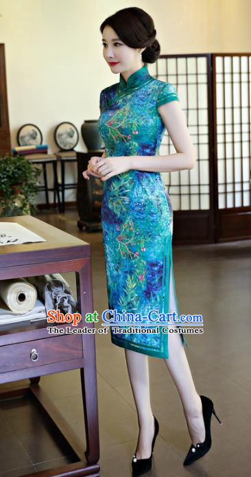 Chinese National Costume Handmade Tang Suit Blue Qipao Dress Traditional Printing Cheongsam for Women
