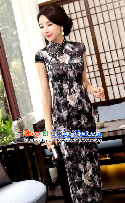 Chinese National Costume Handmade Tang Suit Black Qipao Dress Traditional Printing Crane Cheongsam for Women