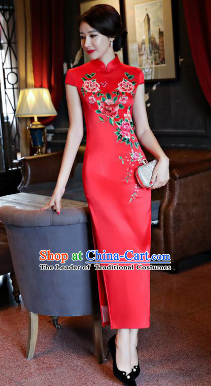 Chinese National Costume Handmade Tang Suit Qipao Dress Traditional Printing Peony Red Silk Cheongsam for Women