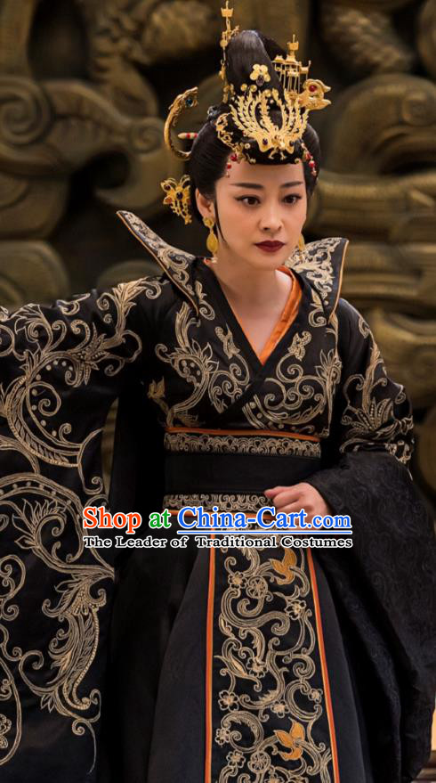 Chinese Ancient Imperial Empress Hanfu Dress Television Drama Nirvana in Fire Queen Xun Embroidered Replica Costume for Women