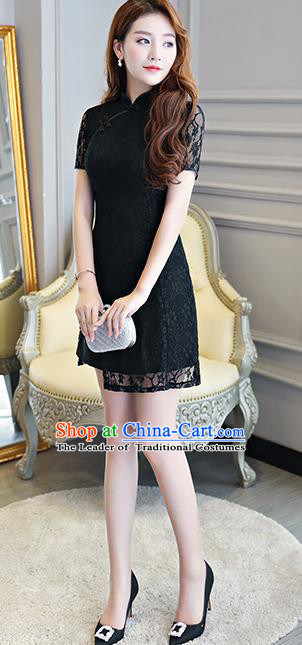 Chinese National Costume Tang Suit Black Lace Qipao Dress Traditional Cheongsam for Women