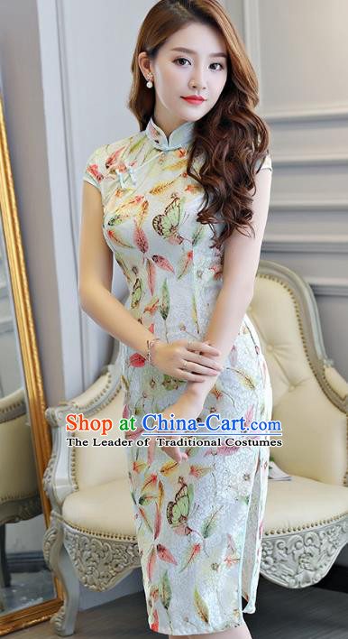 Chinese National Costume Tang Suit Printing Green Qipao Dress Traditional Cheongsam for Women