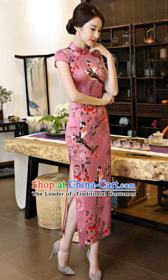 Chinese National Costume Tang Suit Printing Pink Satin Qipao Dress Traditional Cheongsam for Women