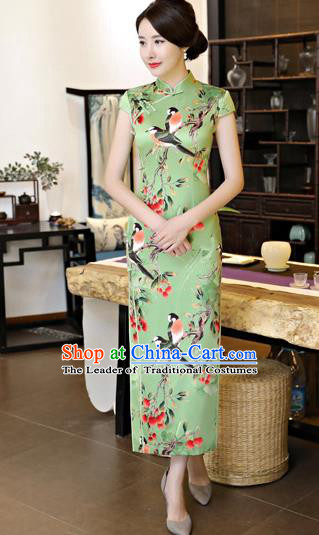 Chinese National Costume Tang Suit Printing Green Satin Qipao Dress Traditional Cheongsam for Women