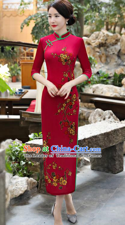 Chinese National Costume Tang Suit Rosy Pleuche Qipao Dress Traditional Cheongsam for Women