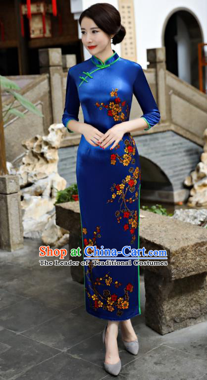 Chinese National Costume Tang Suit Blue Pleuche Qipao Dress Traditional Cheongsam for Women