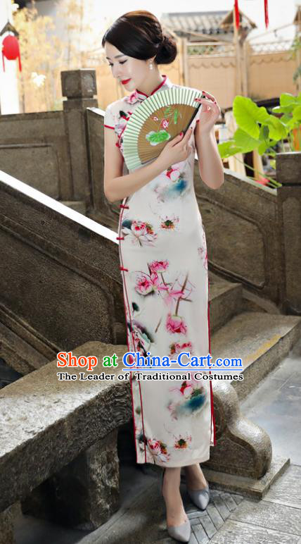 Chinese National Costume Tang Suit Printing Lotus Qipao Dress Traditional Cheongsam for Women