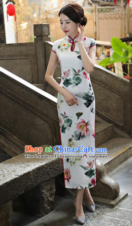Chinese National Costume Tang Suit Ink Painting Lotus Qipao Dress Traditional Cheongsam for Women