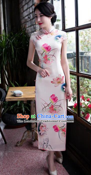 Chinese National Costume Retro Printing Lotus Pink Satin Qipao Dress Traditional Republic of China Tang Suit Cheongsam for Women