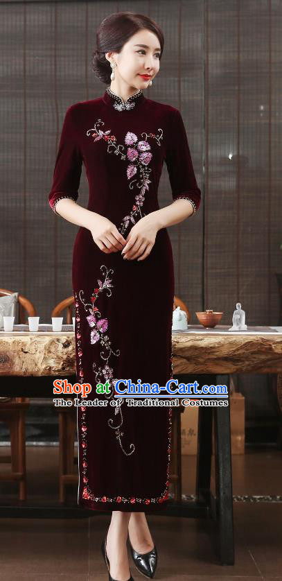 Chinese National Costume Retro Wine Red Velvet Qipao Dress Traditional Republic of China Tang Suit Cheongsam for Women