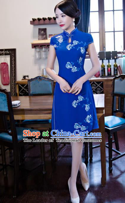 Chinese National Costume Retro Printing Peony Blue Velvet Qipao Dress Traditional Republic of China Tang Suit Cheongsam for Women