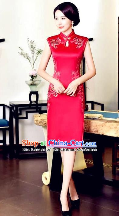 Chinese National Costume Tang Suit Red Silk Qipao Dress Traditional Embroidered Chrysanthemum Cheongsam for Women