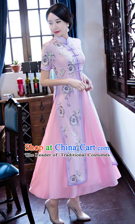 Chinese National Costume Retro Printing Pink Qipao Dress Traditional Republic of China Tang Suit Cheongsam for Women
