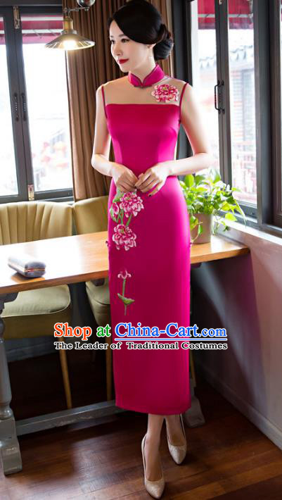 Chinese National Costume Retro Embroidered Qipao Dress Traditional Republic of China Tang Suit Rosy Silk Cheongsam for Women