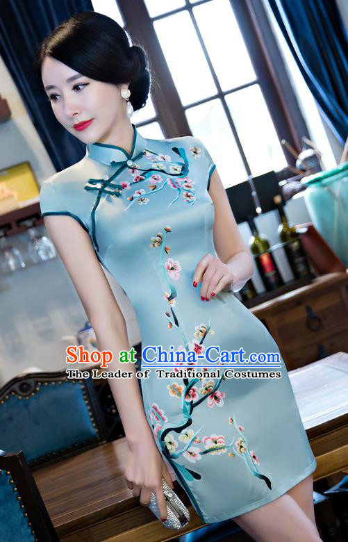 Chinese Top Grade Retro Blue Silk Qipao Dress Traditional Republic of China Tang Suit Short Cheongsam for Women