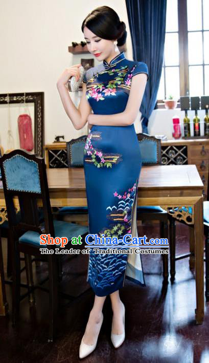 Chinese Top Grade Retro Printing Silk Qipao Dress Traditional Republic of China Tang Suit Navy Cheongsam for Women