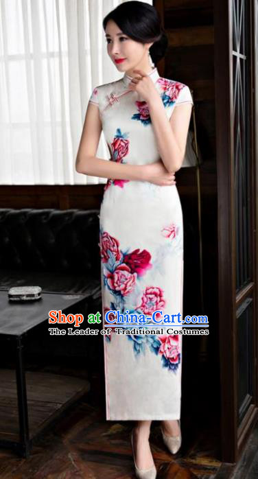 Chinese Top Grade Retro Qipao Dress Traditional Republic of China Tang Suit Printing Peony Silk Cheongsam for Women