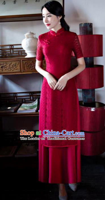 Chinese Top Grade Retro Wine Red Lace Qipao Dress Traditional Republic of China Tang Suit Cheongsam for Women