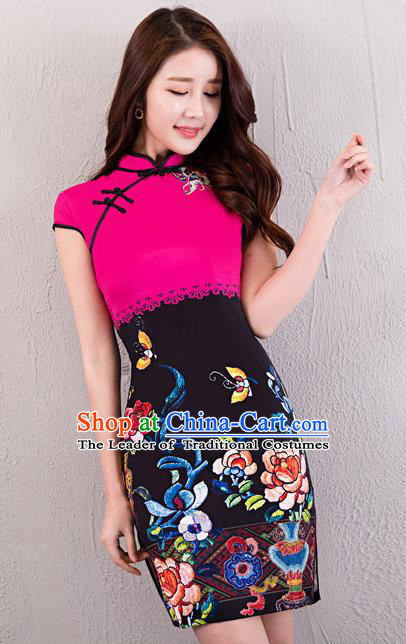 Chinese Top Grade Retro Rosy Satin Qipao Dress Traditional Republic of China Tang Suit Printing Cheongsam for Women