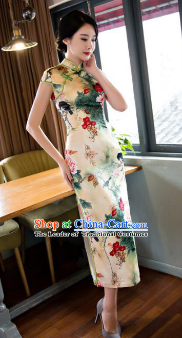 Chinese National Costume Retro Printing Satin Qipao Dress Traditional Republic of China Tang Suit Cheongsam for Women