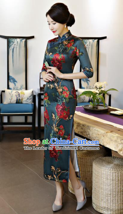 Chinese National Costume Tang Suit Qipao Dress Traditional Printing Cheongsam for Women