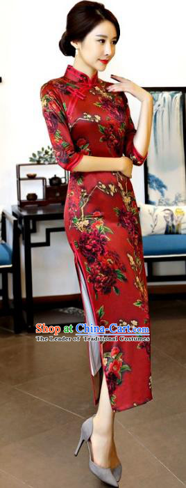 Chinese National Costume Tang Suit Red Qipao Dress Traditional Printing Cheongsam for Women