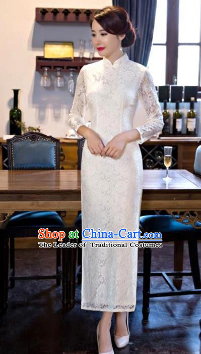 Chinese National Costume Tang Suit White Lace Qipao Dress Traditional Wedding Cheongsam for Women