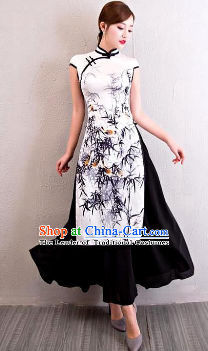 Chinese National Costume Tang Suit Printing Bamboo Silk Qipao Dress Traditional Cheongsam for Women