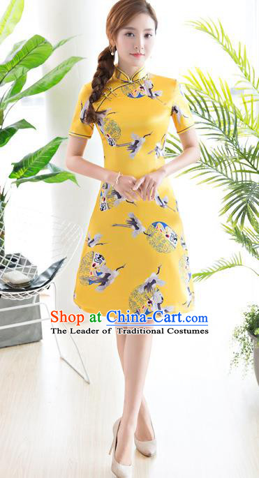 Chinese National Costume Tang Suit Printing Crane Yellow Qipao Dress Traditional Republic of China Cheongsam for Women