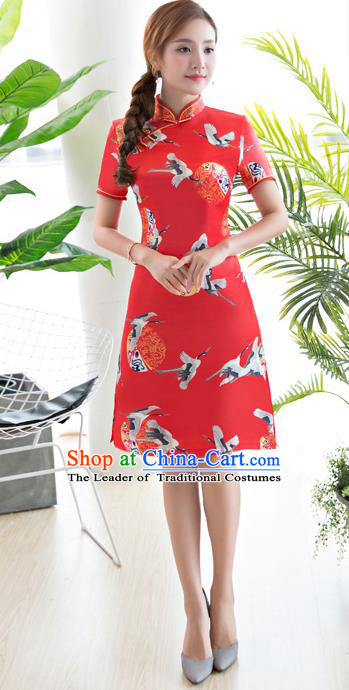 Chinese National Costume Tang Suit Printing Crane Red Qipao Dress Traditional Republic of China Cheongsam for Women