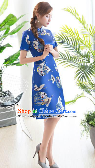 Chinese National Costume Tang Suit Printing Crane Blue Qipao Dress Traditional Republic of China Cheongsam for Women