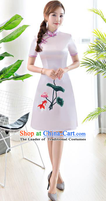 Chinese National Costume Tang Suit Printing Lotus White Qipao Dress Traditional Republic of China Cheongsam for Women