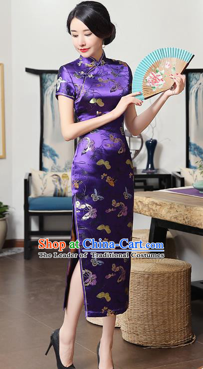 Chinese National Costume Tang Suit Qipao Dress Traditional Republic of China Purple Brocade Cheongsam for Women