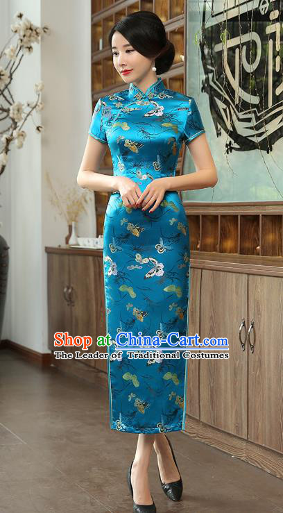 Chinese National Costume Tang Suit Qipao Dress Traditional Republic of China Blue Brocade Cheongsam for Women