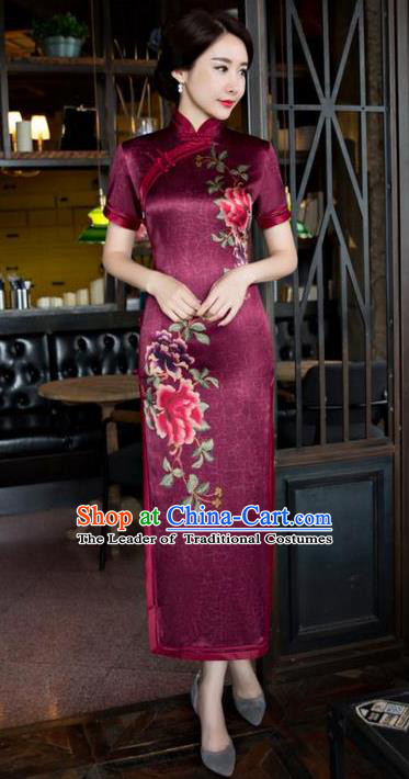 Chinese National Costume Tang Suit Wine Red Qipao Dress Traditional Republic of China Printing Peony Cheongsam for Women