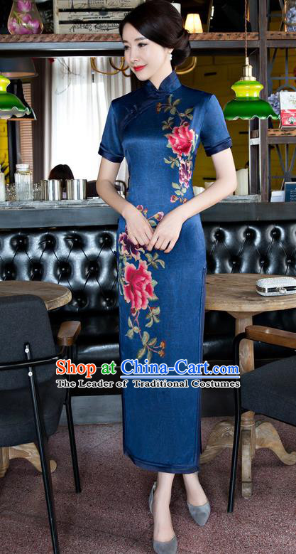 Chinese National Costume Tang Suit Blue Qipao Dress Traditional Republic of China Printing Peony Cheongsam for Women