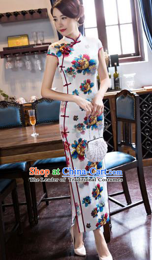 Chinese National Costume Tang Suit White Qipao Dress Traditional Republic of China Printing Flowers Cheongsam for Women