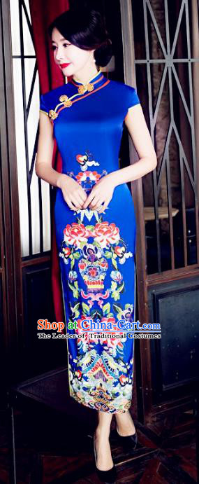 Chinese National Costume Tang Suit Wedding Qipao Dress Traditional Republic of China Printing Blue Cheongsam for Women