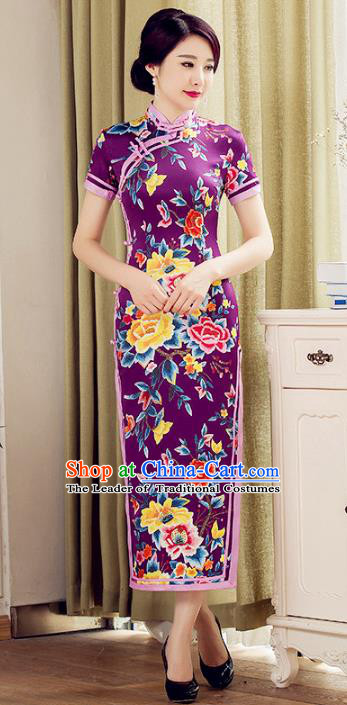 Chinese National Costume Tang Suit Purple Qipao Dress Traditional Republic of China Printing Peony Flowers Cheongsam for Women