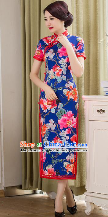 Chinese National Costume Tang Suit Blue Qipao Dress Traditional Republic of China Printing Peony Flowers Cheongsam for Women