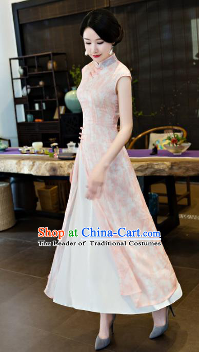 Chinese National Costume Tang Suit Qipao Dress Traditional Republic of China Pink Cheongsam for Women