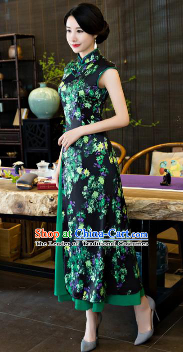 Chinese National Costume Tang Suit Qipao Dress Traditional Republic of China Navy Cheongsam for Women