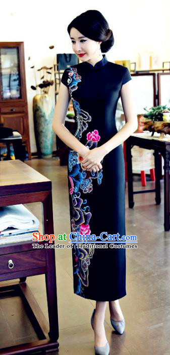 Chinese National Costume Tang Suit Printing Peony Qipao Dress Traditional Republic of China Black Silk Cheongsam for Women
