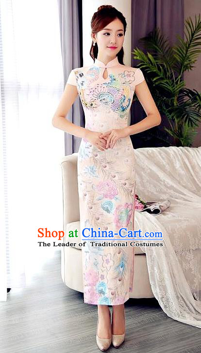 Chinese National Costume Tang Suit Qipao Dress Traditional Republic of China Printing Pink Cheongsam for Women