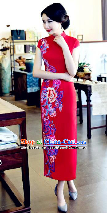 Chinese National Costume Tang Suit Printing Peony Qipao Dress Traditional Republic of China Red Silk Cheongsam for Women