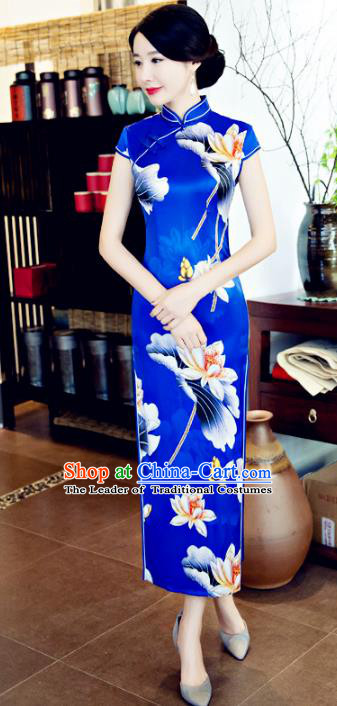 Chinese National Costume Tang Suit Printing Lotus Qipao Dress Traditional Republic of China Blue Silk Cheongsam for Women