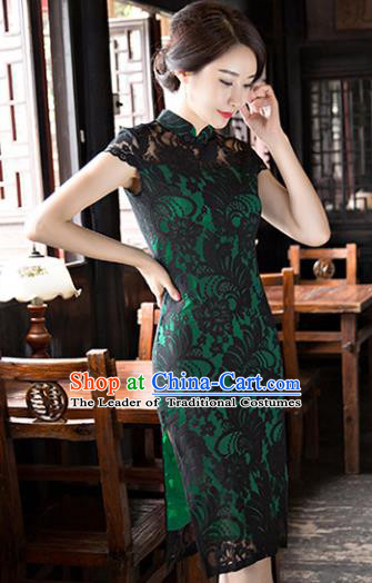 Chinese National Costume Tang Suit Qipao Dress Traditional Republic of China Black Lace Cheongsam for Women
